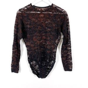 Vintage Lace Bodysuit in Black and Brown